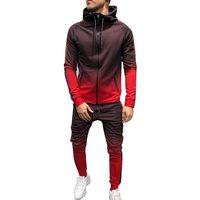 Puimentiua Zipper Tracksuit Men Set Sporting 2 Pieces Sweatsuit Men Clothes Printed Hooded Hoodies Jacket Pants Track Suits Male