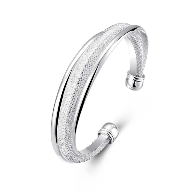 4 Styles Silver Color Plated Net Twisted Chain Bracelet 925 Knot Bangle Shining Bright Lines