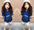 2016 Spring new children's clothing Set Girls long-sleeved denim shirt + leopard pants 2pcs suit for baby girls clothes
