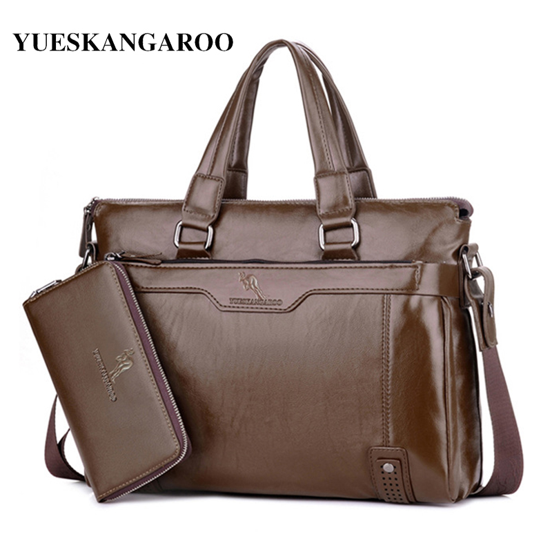 YUES KANGAROO Brand Man Leather Business Handbag  Messenger Bag Men Laptop Shoulder Bag A4 Document Briefcase Travel bag bolsas crafts glass lens led desk magnifier lamp light 10x magnifying desktop loupe repair tools with usb free shipping