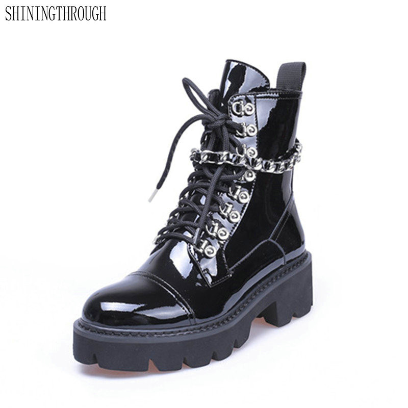 Fashion Women Ankle Boots Round Toe Autumn Winter Warm High Heels Shoes Woman CHain Punk Patent Leather Motorcycle BootsFashion Women Ankle Boots Round Toe Autumn Winter Warm High Heels Shoes Woman CHain Punk Patent Leather Motorcycle Boots