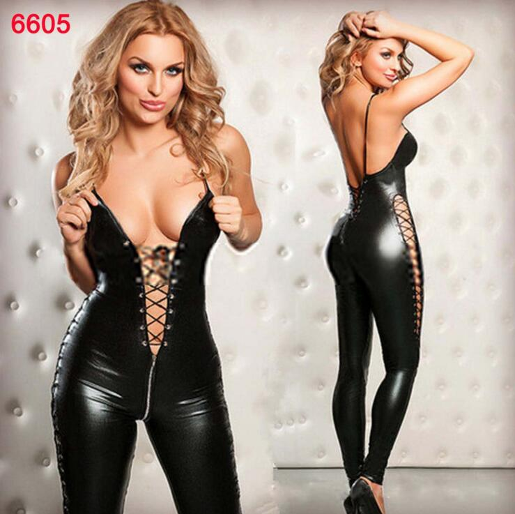 Plus Size S-5XL Sexy Bondage Leather Bodysuit PU Catsuit Women Lace-up Hollow Bust Crotchless Lingerie Patent Leather Leotard