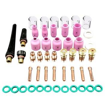 49 teile/satz Durable Wig-schweißbrenner Stubby Tig Gas Objektiv #10 Pyrex Glas Tasse Kit Für WP-17/18 /26 Mayitr Schweißen Zubehör