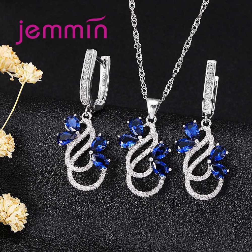 Роскошное 925 пробы Серебряное ожерелье Комплект сережек для женщин Женский вечерний Синий австрийский кристалл ювелирные изделия Высокое качество