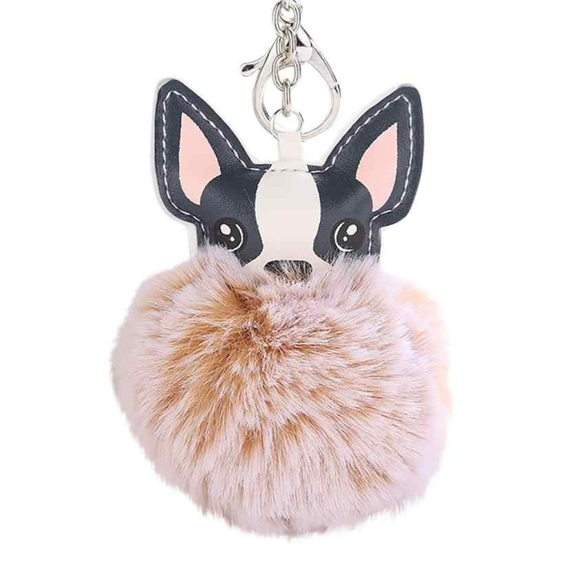 OTOKY 8CM Cute Dog Keychain Pendant Women Key Ring Holder Pompoms Key Chains  Jul31
