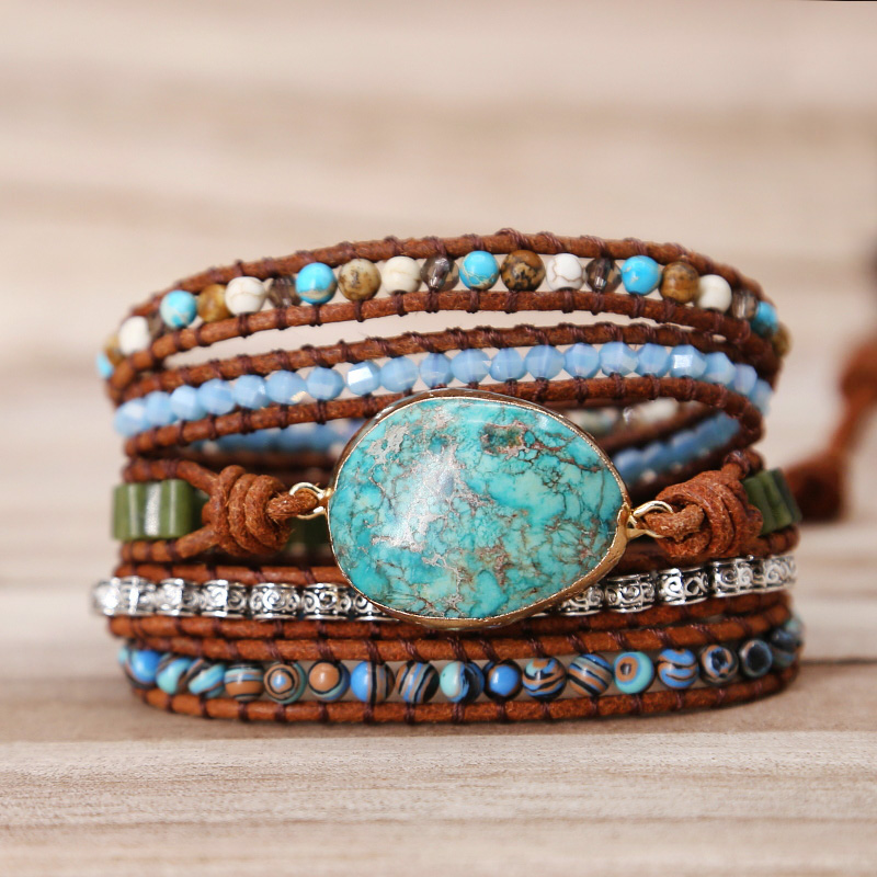 2019 Unique Punk Bracelets Women Wrap Bracelets Natural Stones 5 Layers Leather Cuff Bracelet Femme Bracelets Gifts dropshipping
