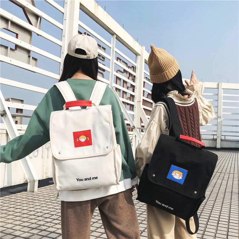 845590327d1f Новые модные женские туфли рюкзак для девочек-подростков парусиновый рюкзак  комплект сумка через плечо,