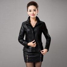 2016 Spring Autumn Women Plus Size PU Leather Clothing Outerwear Female Slim Leather Coat Fashion Ladies