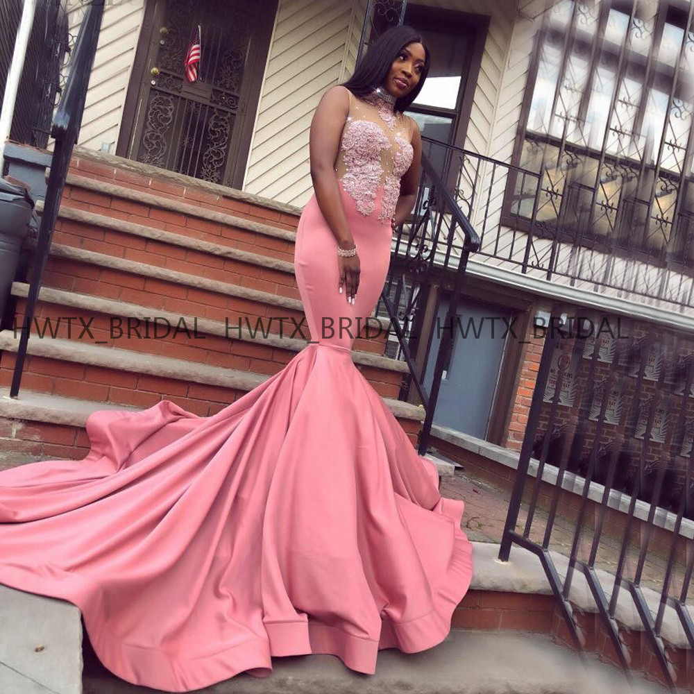 Gorgeous African Girls Evening Dress High Neck Illusion Bodice Lace Satin Long 2019 Mermaid Formal Evening Gown Robe de soiree