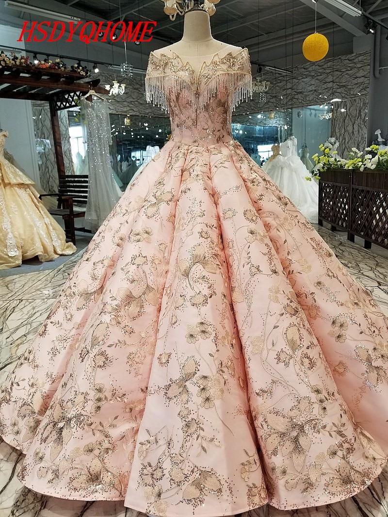 HSDYQHOME luxe broderie robes de soirée 2018 incroyable à lacets dos robes de bal perles robes Appliques robe de soirée