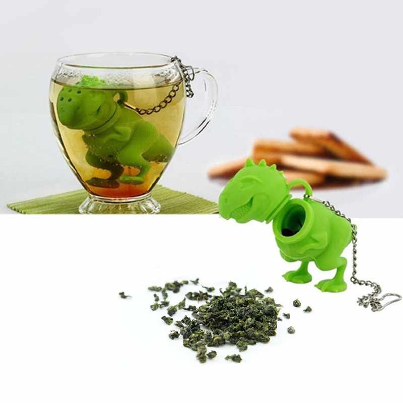 Yeşil Silikon Demlik Çay Dinozor Gevşek Yaprak Süzgeç Bitkisel Filtre Difüzör Sevimli Çay Demlik Kahve ve Çay Aracı Üreticileri