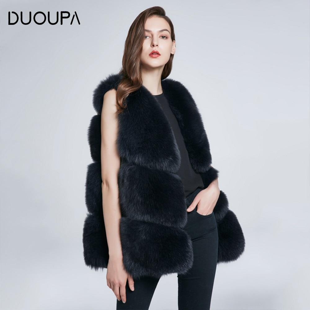 DUOUPA hot natural fox fur long vest real fox fur gilet winter high quality women fox abrigo mujer real fur vest Free Shipping