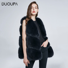 DUOUPA hot natural fox fur long vest real gilet winter high quality women abrigo mujer Free Shipping