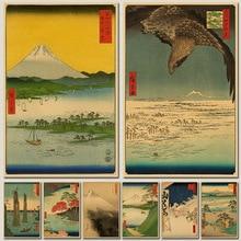 Póster Retro de papel Vintage de anime, ukiyoe japonés, póster, Adhesivo de pared de Casa Vintage