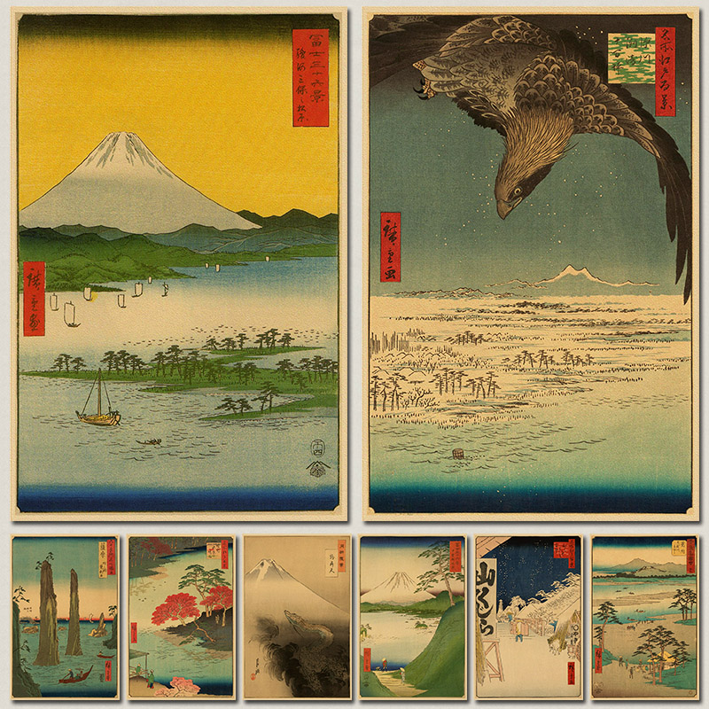 Vintage Paper Retro font b anime b font poster Japanese ukiyoe Posters poster Vintage Home Wall