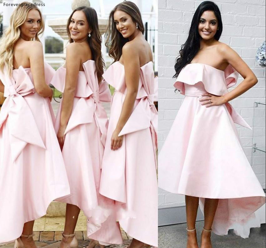 New Pink   Bridesmaid     Dresses   2019 Strapless Summer Country Garden Wedding Party Guest Maid of Honor Gowns Plus Size Custom Made