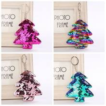 1 Pcs Cute Sequin Cactus Mermaid Christmas Tree Key Chain Keychain Women Handbag Car Keyring Gift Christmas Jewelry Accessories(China)
