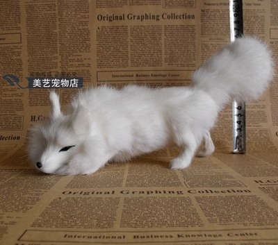 simulation white fox 29x7x12cm down head fox model,polyethylene& fur fox handicraft toy home decoration Xmas gift b3738