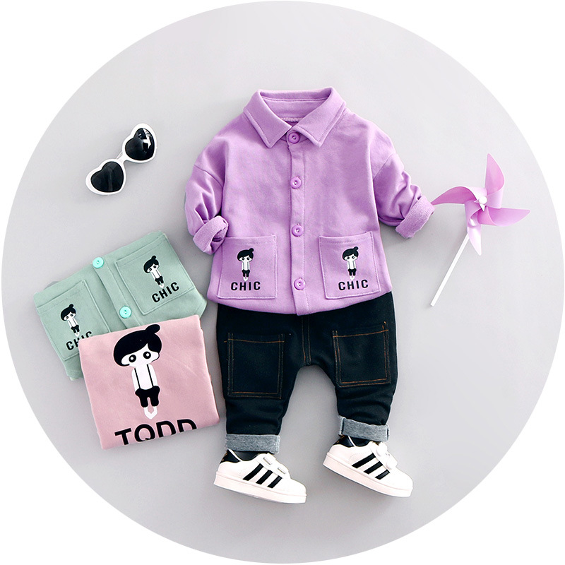 2017 Baby Girls Clothing Sets Spring Children's Clothes Baby Boys Tracksuits Single-breasted Shirt Sets Cotton Sweatshirts+jeans