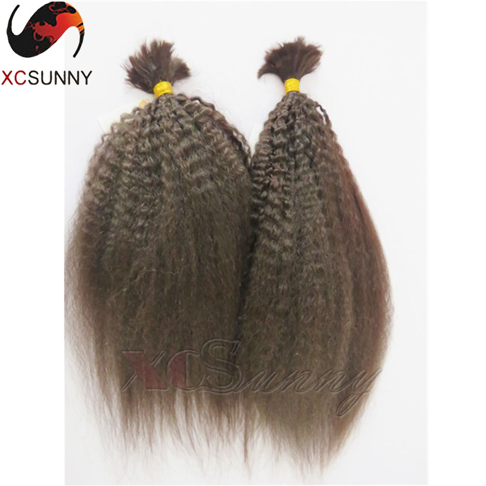6A Brazilian Kinky Straight Bulk Braiding Hair 2pcs 200g Unprocessed No Weft Human Hair Virgin Bulk Hair For Braiding