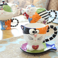 3D cartoon coffee mugs creative Cat cup pottery cups and saucers coloured drawing or pattern glass personality birthday present