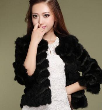 Sweet Pink Color Women Real Rabbit Fur Coat O-Neck 3/4 Sleeve Natural Fur Coats Female Short Outerwear Coats YC-4