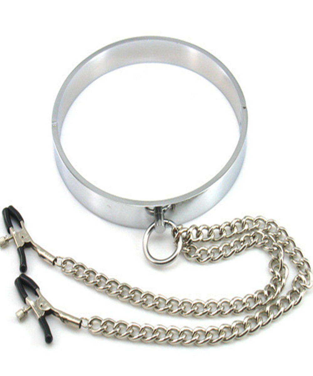 Metal Collar With Nipples Clamps Bondage Slave In Adult Games For Couples , Bdsm Fetish Erotic Sex Toys For Women And Men fetish sex furniture harness making love sex position pal bdsm bondage product erotic toy swing adult games sex toys for couples