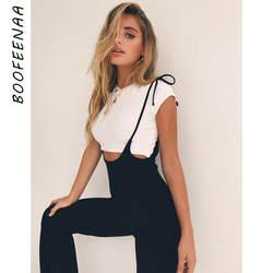 BOOFEENAA черный Высокая талия широкие штаны Повседневное на шнуровке комбинезоны Для женщин брюки 2019 летние модные расклешенные брюки C34-AA27