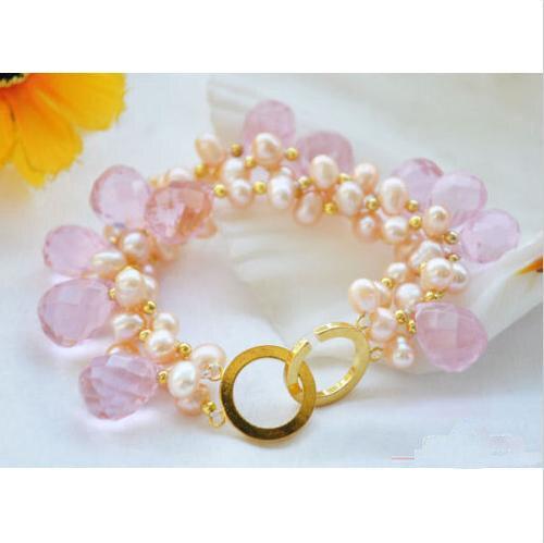 Charmant bijoux en perles de chance, fait à la main 8 pouces 3 rangées rose perle d'eau douce à facettes goutte à goutte Bracelet en cristal, cadeau de mode femmes