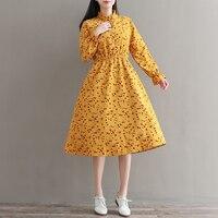 Spring Autumn Femininos Vintage Vestidos Mori Girl Sweet Fall Flowers Clothes Women Long Sleeve Floral Print