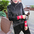 Winter New Velvet Turtleneck T-shirt Women Warm Red Long Sleeve Velvet Tops Fashion Slim Full Sleeve Women T Shirt 138