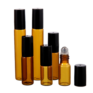 Image 3 - 50pcs/lot 1ml 2ml 3ml 5ml 10m Amber Perfume Glass Roll on Bottle with Glass/Metal Ball Brown Roller Essential Oil Vials Thin
