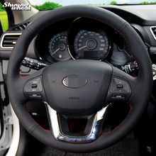 Shining wheat Black Genuine Leather Steering Wheel Cover for Kia K2 Kia Rio 2011-2013