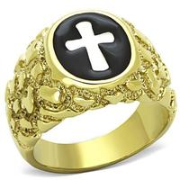 Punk Style Man Stainless Steel 316L Cross Rings IP Gold (Ion Plating) Lead Free Party Anniversary Rings US Size: 8,9,10,11,12,13