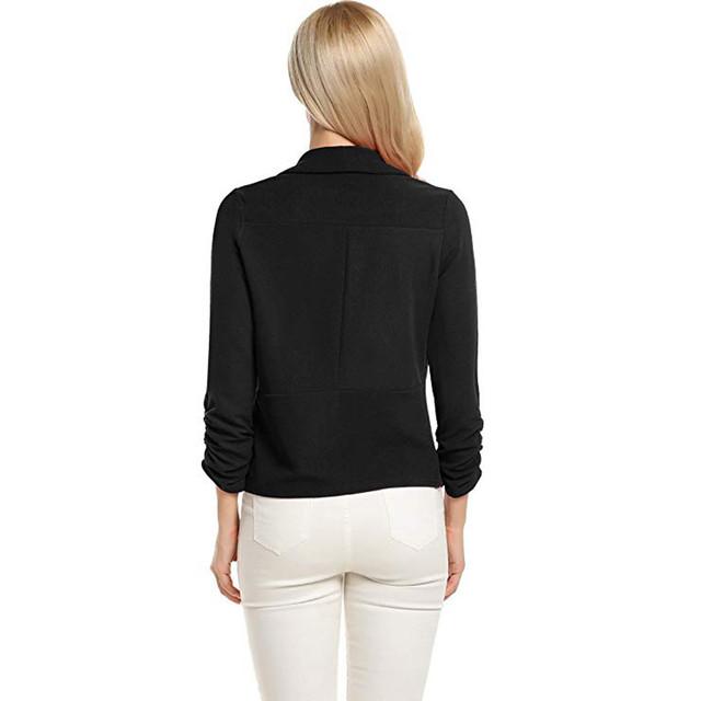 2018 Spring thin Slim Fit Women Formal Jackets 3/4 Sleeve Blazer Office Work Solid Ladies Short Blazer Coat Hot Sale Fashion