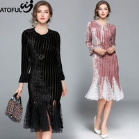 ATOFUL Women Dress 2018 Fashion Spring Fish Tail Dress Elegant Party Velvet Lace Ruffles Dress Slim Casual Bodycon Vestidos