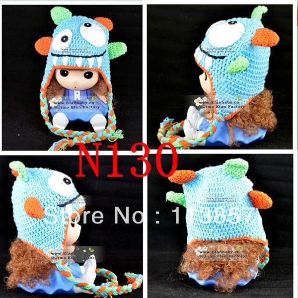 Hand Knitted Monster Winter Baby Beanie Character Crochet Animal Hat