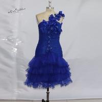 Bleu Royal De Bal Robes De Cocktail Courte 2017 une Épaule Organza Perlée Robe de Festa Curto Genou Longueur Baile