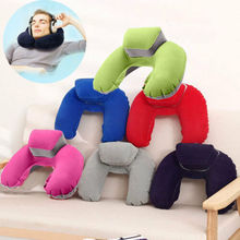 Foldable Inflatable U Shape Pillow Neck Head Rest Air Soft Cushion for Travel Plane