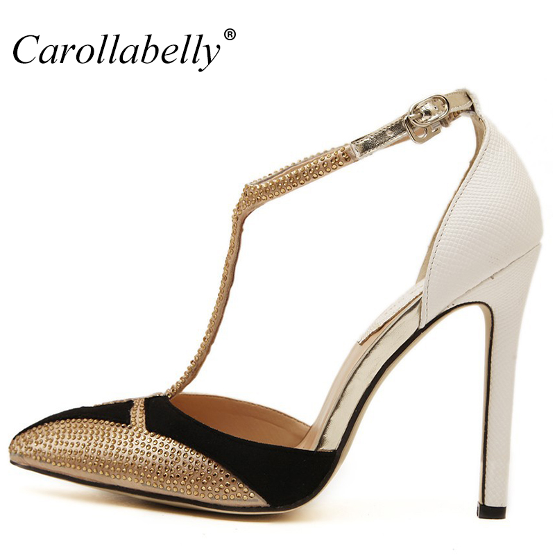 2017 New Rhinestone High Heels Women Pumps Sexy Pointed Stiletto Heels Brand Mix color patchwork Gold
