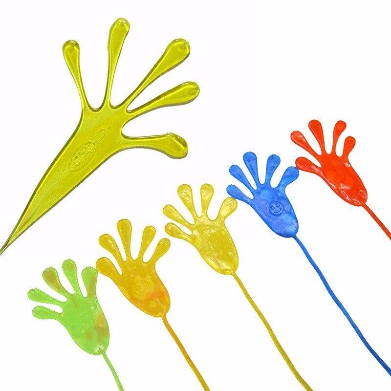 5PCS SET Climbing Palms Sticky Jelly Hands Squishy Toy Random Color Funny Stick Slap Novelty Party