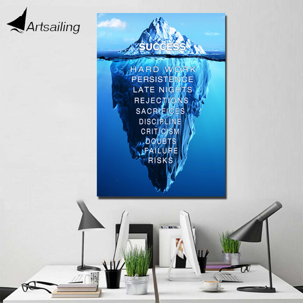 ArtSailing 1 panel painting art Success quote inspirational quotes Painting wall pictures iceburg motivational poster no frame canvas
