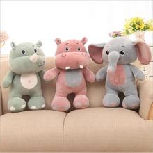 Lovely Elephant Hippo Rhino Short Plush Toy Stuffed Animal Toys Soft Doll Children Birthday Gift