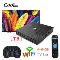COOLJIER Newest Android 8.1 TV Box 4GB 64GB T9 RK3328 Quad Core 4G/32G USB 3.0 Smart 4K Set Top Box WIFI Bluetooth Smart box