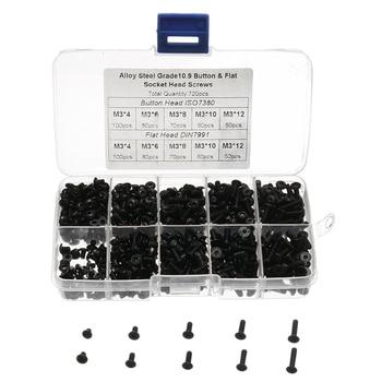 720 piezas negro de acero de aleación M3 botón plano tornillos de cabeza hexagonal Socket Cap tornillo nuevo
