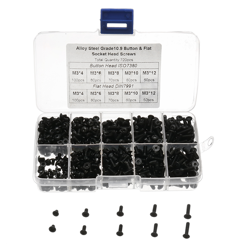 720pcs Black Alloy Steel M3 Button Flat Socket Head Screws Set Hex Socket Cap Screw Bolt New 720pcs techinic 2in1 motorized container