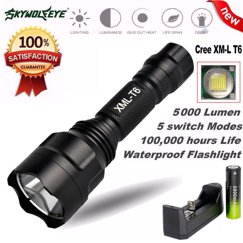 2018 5000Lm C8 CREE XM-L T6 LED 18650 Flashlight 5 Mode Torch Tactical Light Lamp Safety & Survival Z919 Out