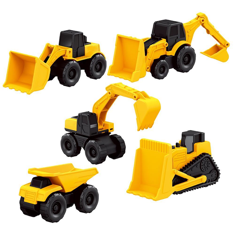 New 5PCS/Set Mini Simulation Small Caterpillar Engineering Vehicle Construction Toy Set Excavator Bulldozer Dump Truck