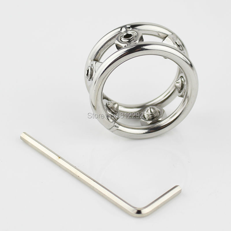 Stainless Steel Spikes Screw Locking Penis Ring Scrotum Testicle Lock Ball  Stretcher Cock Ring Adult Game Sex Toys dd9bb6180c2