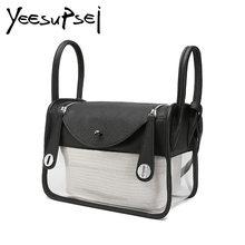 b61d49ed68 YeeSupSei Women Summer Beach Bag Clear PVC Transparent Bottom Bag Shoulder  Waterproof Small Crossbody 2 Handle Bag Handbag Tote